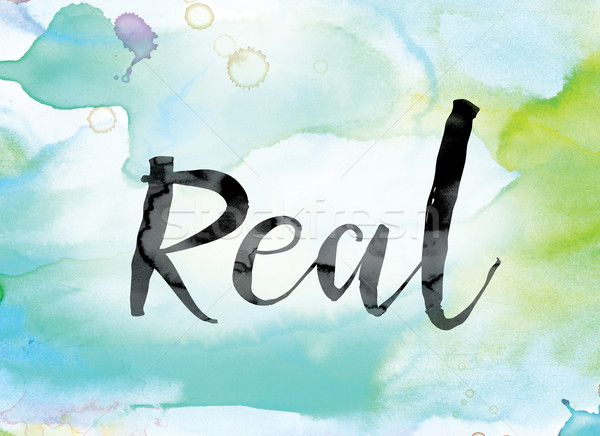 Real Colorful Watercolor and Ink Word Art Stock photo © enterlinedesign