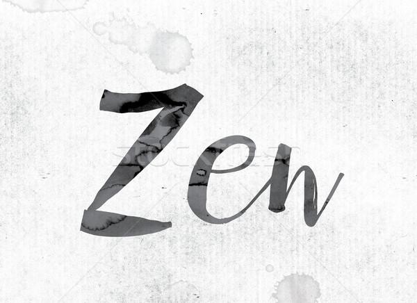 Zen geschilderd inkt woord aquarel witte Stockfoto © enterlinedesign