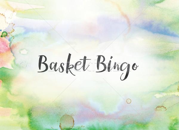 Mand bingo aquarel inkt schilderij woorden Stockfoto © enterlinedesign