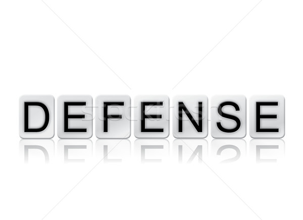 Defensa azulejos palabra aislado blanco escrito Foto stock © enterlinedesign