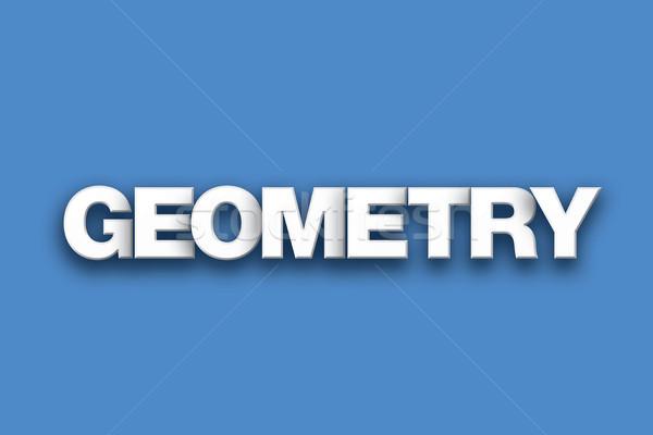 Geometrie woord kunst kleurrijk geschreven witte Stockfoto © enterlinedesign