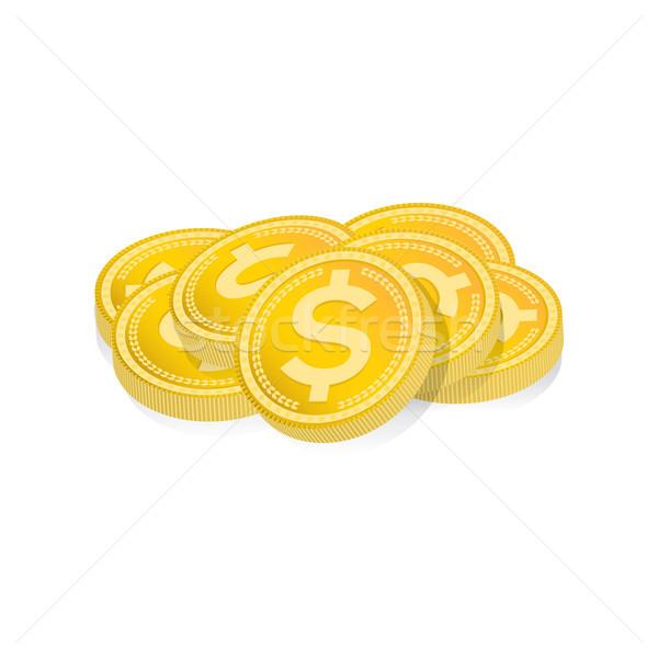 Gouden munten geïsoleerd illustratie witte vector Stockfoto © enterlinedesign