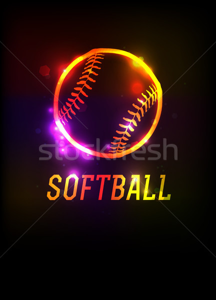 Softball icona illustrazione parola buio Foto d'archivio © enterlinedesign