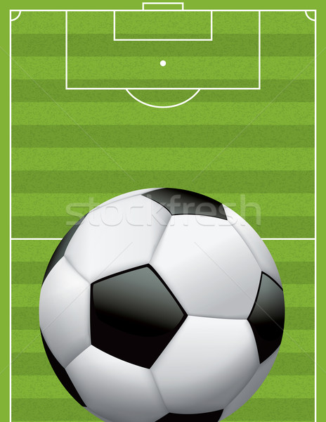 Realistic Football - Soccer Ball on Textured Field Stock photo © enterlinedesign