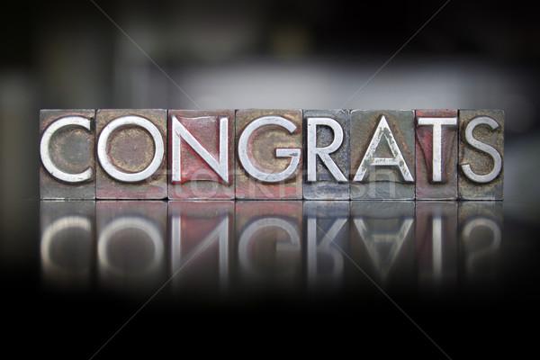 Congrats Letterpress Stock photo © enterlinedesign