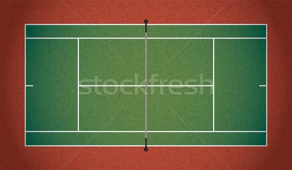 Realistic Textured Tennis Court Illustration Stock photo © enterlinedesign