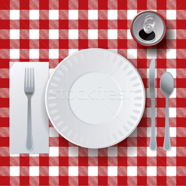 Stok fotoğraf: Piknik · gündelik · yemek · örnek · masa · örtüsü · soda