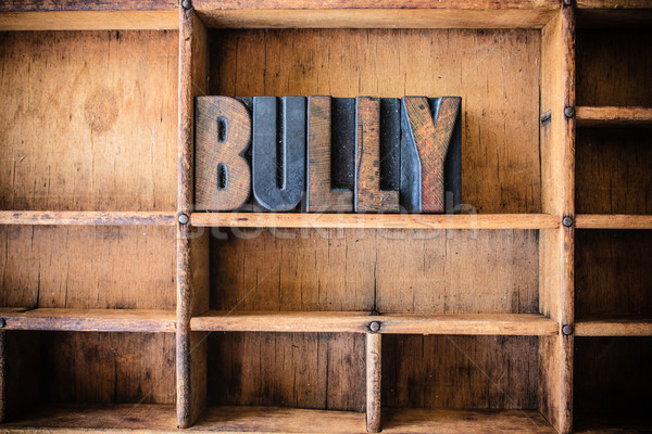 Bully Concept Wooden Letterpress Theme Stock photo © enterlinedesign