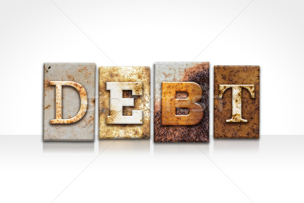 Adósság magasnyomás izolált fehér szó írott Stock fotó © enterlinedesign