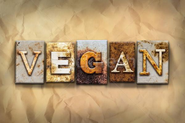 Veganistisch metaal type woord geschreven Stockfoto © enterlinedesign