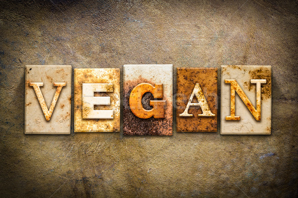 Vegan pelle parola scritto arrugginito Foto d'archivio © enterlinedesign