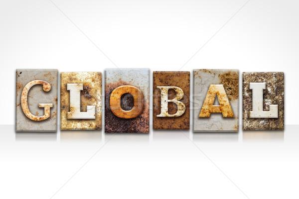 Globale geïsoleerd witte woord geschreven Stockfoto © enterlinedesign