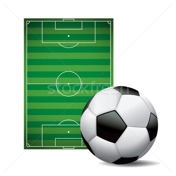 Balón de fútbol campo de fútbol aislado ilustración blanco vector Foto stock © enterlinedesign