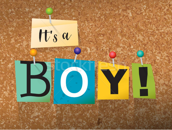 It's a Boy Concept Pinned Letters Illustration Stock photo © enterlinedesign