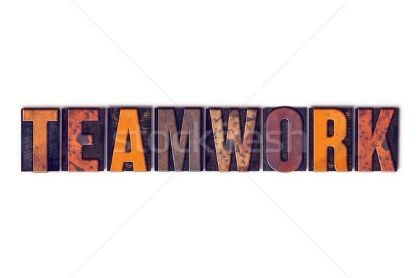 Trabajo en equipo aislado tipo palabra escrito Foto stock © enterlinedesign