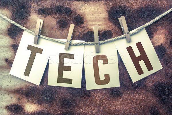 Tech kártyák zsinór szó öreg darab Stock fotó © enterlinedesign
