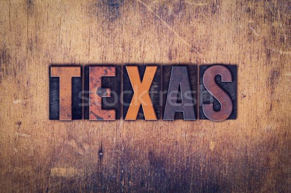 Teksas ahşap tip kelime yazılı Stok fotoğraf © enterlinedesign