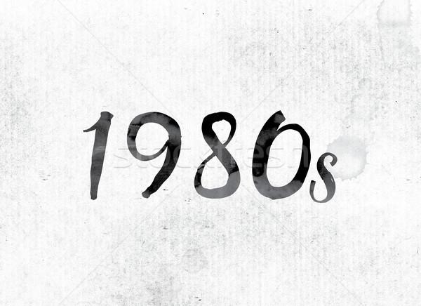 1980 vopsit cerneală cuvant acuarela alb Imagine de stoc © enterlinedesign