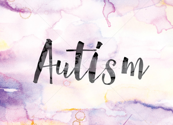 Autism Colorful Watercolor and Ink Word Art Stock photo © enterlinedesign