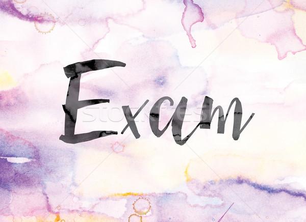 Examen colorido acuarela tinta palabra arte Foto stock © enterlinedesign