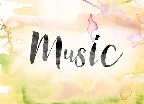 Music Colorful Watercolor and Ink Word Art Stock photo © enterlinedesign