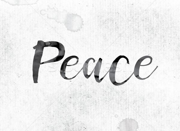 Pace verniciato inchiostro parola acquerello bianco Foto d'archivio © enterlinedesign