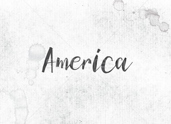Amérique peint encre mot noir couleur pour aquarelle Photo stock © enterlinedesign