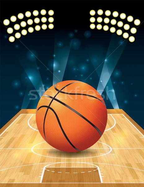 Stockfoto: Vector · basketbalveld · illustratie · basketbal · hardhout · rechter