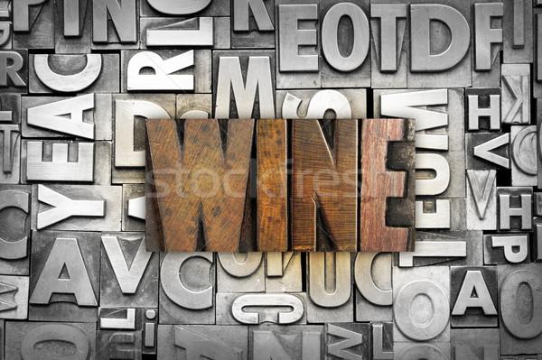 Сток-фото: вино · слово · написанный · Vintage · тип