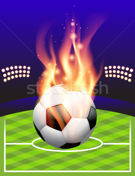 Stock photo: Flaming Soccer Football Background