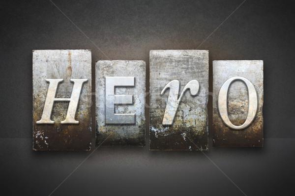 Hős magasnyomás szó írott klasszikus Stock fotó © enterlinedesign