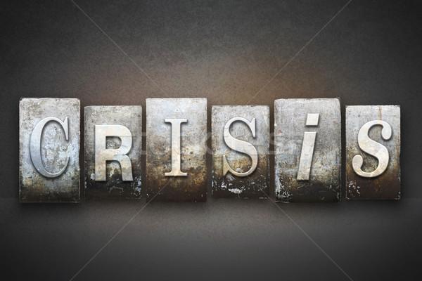 Crisi parola scritto vintage tipo Foto d'archivio © enterlinedesign