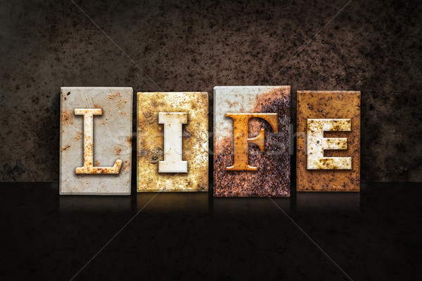 Life Letterpress Concept on Dark Background Stock photo © enterlinedesign