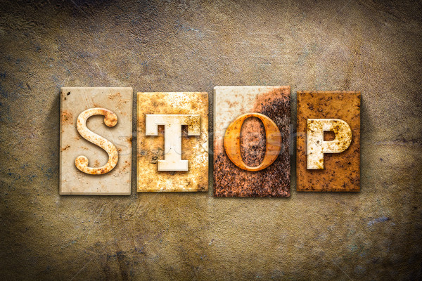 Stop Concept Letterpress Leather Theme Stock photo © enterlinedesign