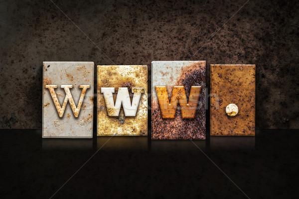 Stockfoto: Www · donkere · woord · geschreven · roestige