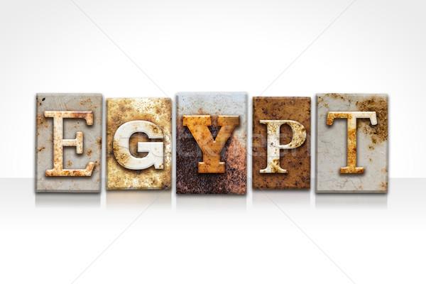 Egypt Letterpress Concept Isolated on White Stock photo © enterlinedesign