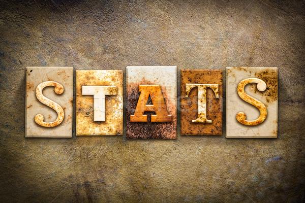 Statistiche pelle parola scritto arrugginito Foto d'archivio © enterlinedesign