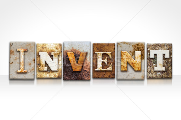 Invent Letterpress Concept Isolated on White Stock photo © enterlinedesign