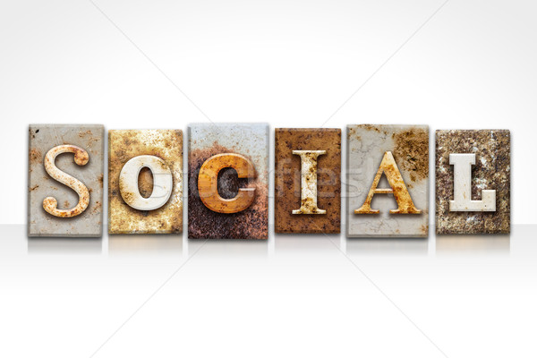 Social isolado branco palavra escrito Foto stock © enterlinedesign