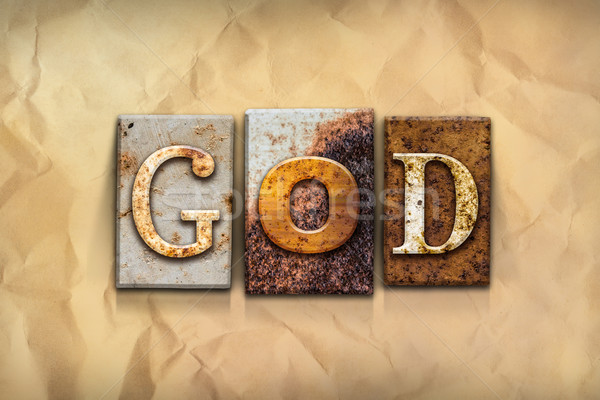God Concept Rusted Metal Type Stock photo © enterlinedesign