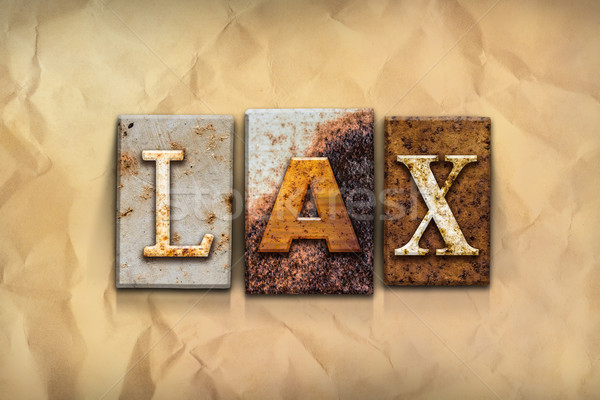 LAX Concept Rusted Metal Type Stock photo © enterlinedesign