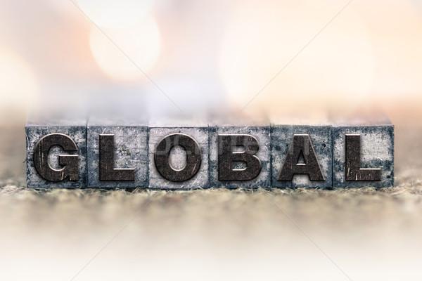 Globale vintage type woord geschreven Stockfoto © enterlinedesign
