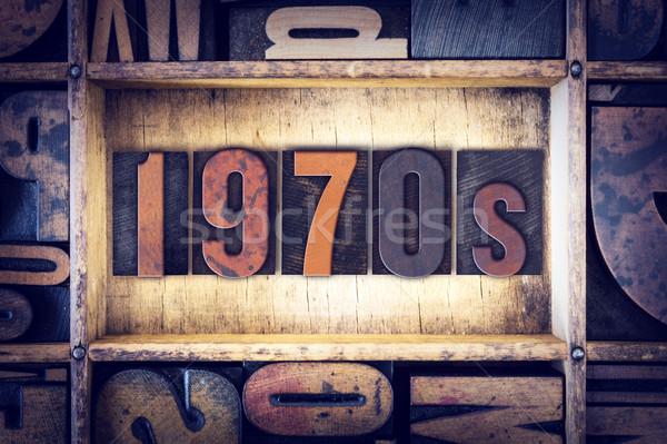 1970s Concept Letterpress Type Stock photo © enterlinedesign