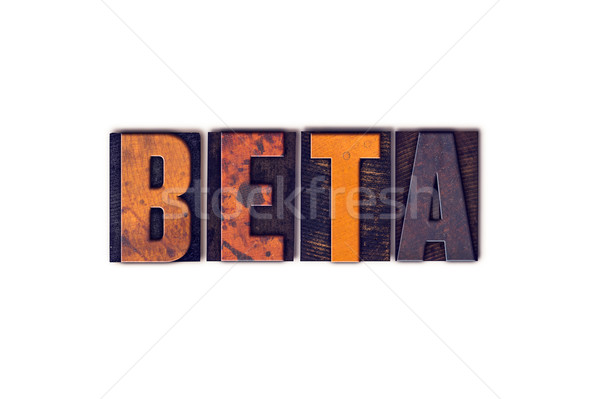 Beta geïsoleerd type woord geschreven Stockfoto © enterlinedesign