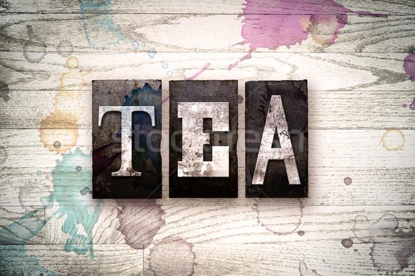 Stock photo: Tea Concept Metal Letterpress Type