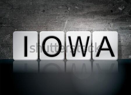 Iowa izolált csempézett levelek szó írott Stock fotó © enterlinedesign