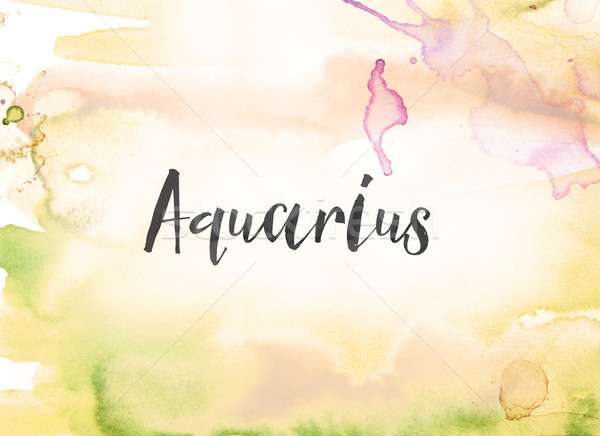 Aquarius Concept Watercolor and Ink Painting Stock photo © enterlinedesign