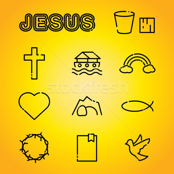 Christian Faith Religion Icons Illustration Stock photo © enterlinedesign