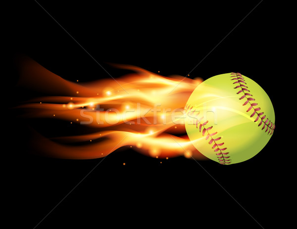 Fiammeggiante softball illustrazione vettore eps 10 Foto d'archivio © enterlinedesign