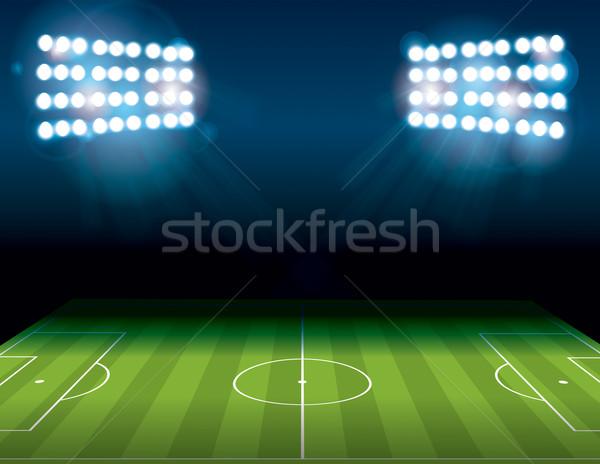 Foto stock: Futebol · americano · campo · de · futebol · ilustração · noite